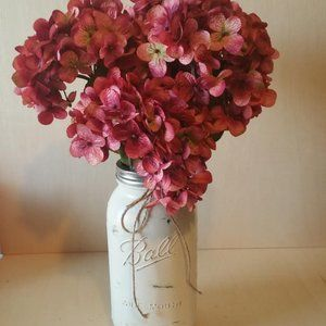 Rose Hydrangeas w/ Ball Jar Vase